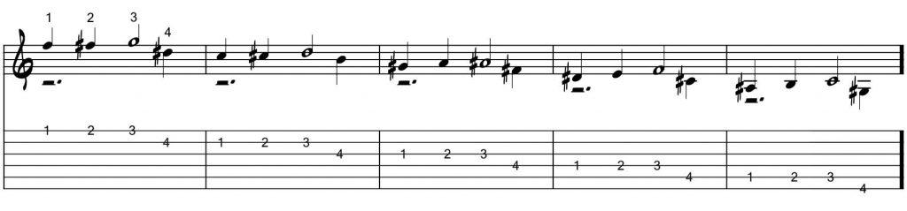 Técnicas de guitarra - Estiramientos horizontales