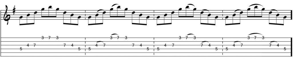 Técnicas de guitarra - String skipping